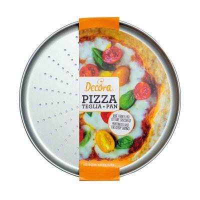 Teglia rotonda forata per pizza e focacce in metallo antiaderente Ø32 cm