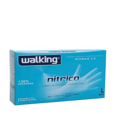 Guanti monouso in nitrile azzurro Walking Nitrico taglia L 8-8,5