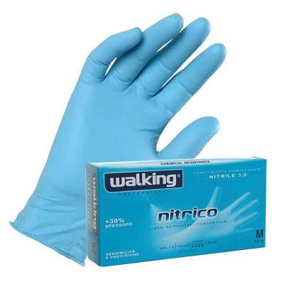 Guanti monouso in nitrile azzurro Walking Nitrico 3.5 gr