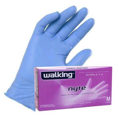 Guanti monouso in nitrile azzurro Walking Nyte 3.2 gr