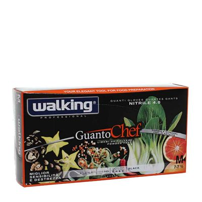Guanti Chef monouso in nitrile nero Walking taglia M 7-7,5