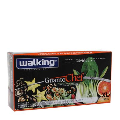 Guanti Chef monouso in nitrile nero Walking taglia XL 9-9,5