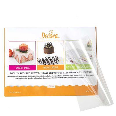 10 Fogli in PVC antiaderente per alimenti 30 x 40 cm 150 Micron Decora