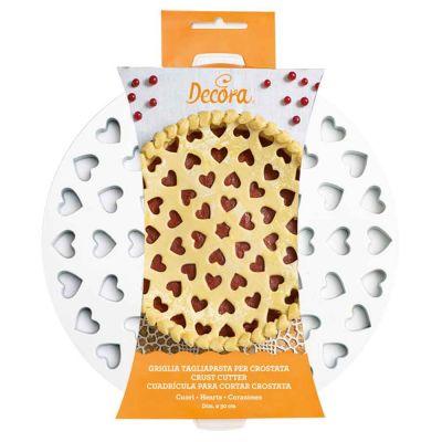 Griglia Tagliapasta a cuori per crostata in plastica tonda Ø30cm
