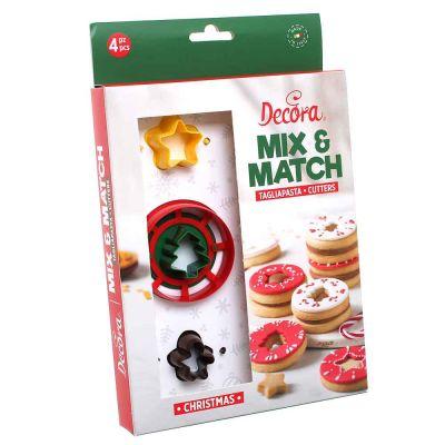 Set 4 pz Cutters Tagliapasta in plastica occhio di bue Natale