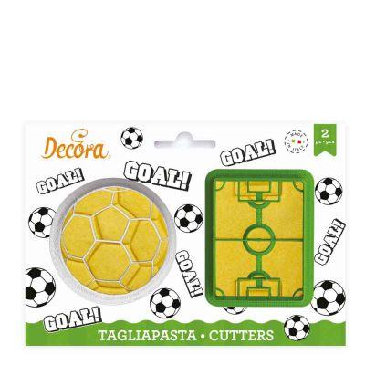 Set 2 Cutters Tagliapasta in plastica Pallone e campo di calcio
