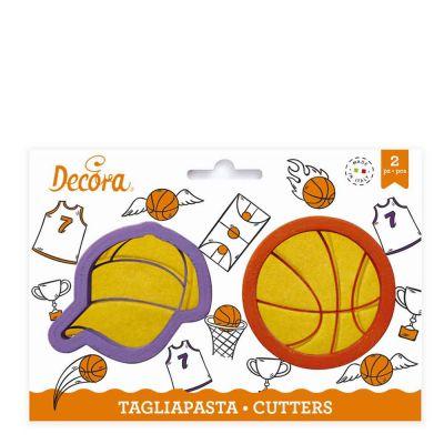 Set 2 Cutters Tagliapasta in plastica Pallone basket e cappellino