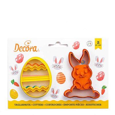 Set 2 Cutters Tagliapasta in plastica Uovo decorato e coniglio intero