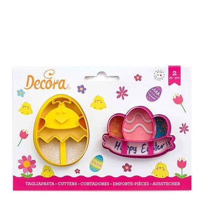 Set 2 Cutters Tagliapasta in plastica Pulcino e Uova con festone