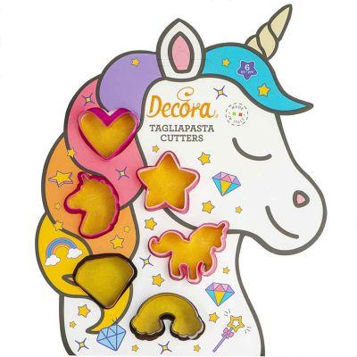 Set 6 mini Cutters Tagliapasta in plastica Unicorno Decora