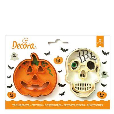 Set 2 Cutters Tagliapasta in plastica Halloween zucca e teschio Decora
