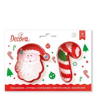 2 Tagliapasta Cutter Babbo Natale e Bastoncino zucchero Decora