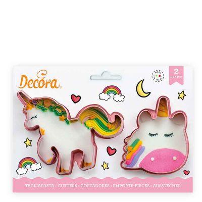 Set 2 Cutters Tagliapasta in plastica rosa Unicorno Decora