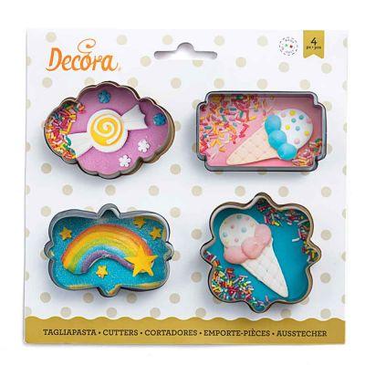 Set 4 Cutters Tagliapasta in plastica Cornici mini sagomate Decora
