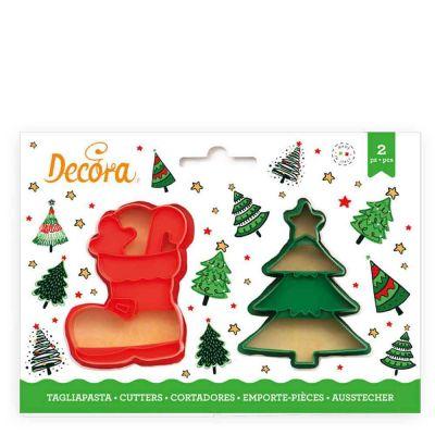 2 Tagliapasta Cutter Albero Natale e Scarpone Decora