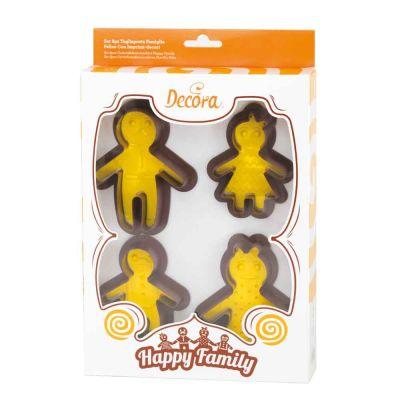 Set 4 Cutters tagliapasta in plastica Happy Family con 4 imprimi decori Decora
