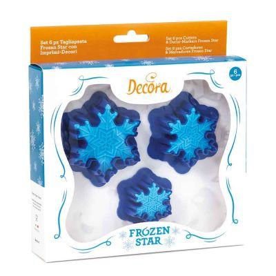 Set 3 Cutters tagliapasta in plastica Frozen Star con 3 imprimi decori Decora