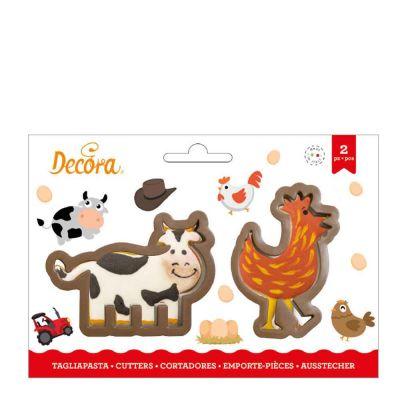 Set 2 Cutters Tagliapasta in plastica animali Gallina e Mucca