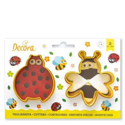 Set 2 Cutters Tagliapasta in plastica coccinella e ape Decora