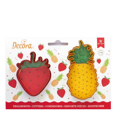 Set 2 Cutters Tagliapasta in plastica ananas e fragola Decora