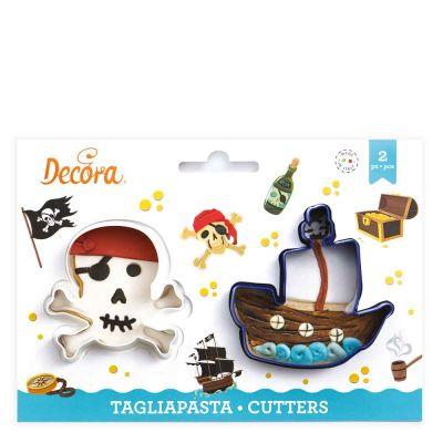 Set 2 Cutters Tagliapasta in plastica Teschio e Nave Pirati Decora