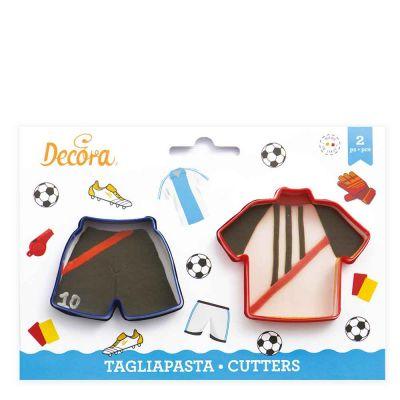 Set 2 Cutter Tagliapasta in plastica Maglietta e Pantaloncino calcio Decora