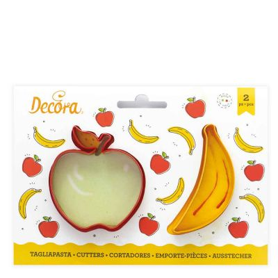 Set 2 Cutters Tagliapasta in plastica frutta mela e banana Decora
