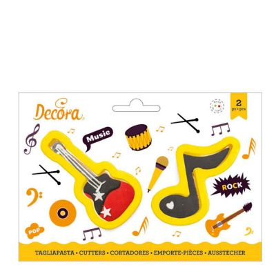 Set 2 Cutters Tagliapasta in plastica chitarra e nota musicale