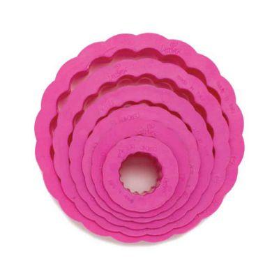 Set 6 Cutters Tagliapasta in plastica forma cerchio tondo riccio