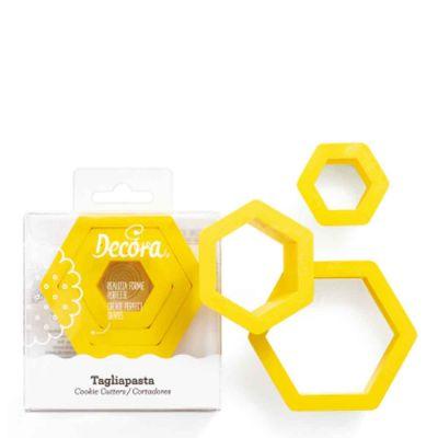 Set 3 Cutters Tagliapasta in plastica forma esagono Decora