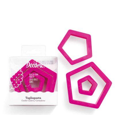 Set 3 Cutters Tagliapasta in plastica forma pentagono Decora