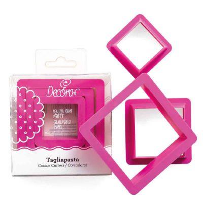 Set 3 Cutters Tagliapasta in plastica forma quadrata Decora