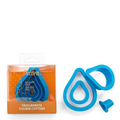 Set 4 Cutters Tagliapasta in plastica forma goccia Decora