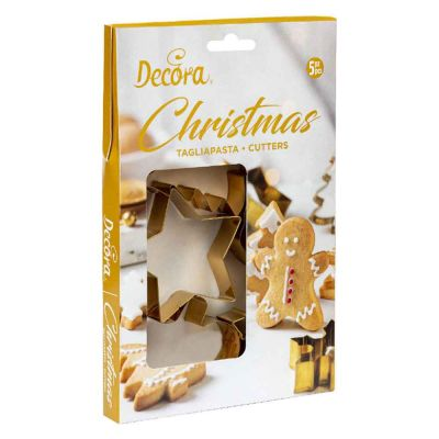 Set 5 Cutters Tagliapasta in acciaio dorato tema Natale con personaggi assortiti