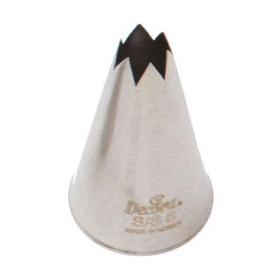 Beccuccio cornetto grande stella 8 Decora in acciaio inox Ø2,5 x 5 cm