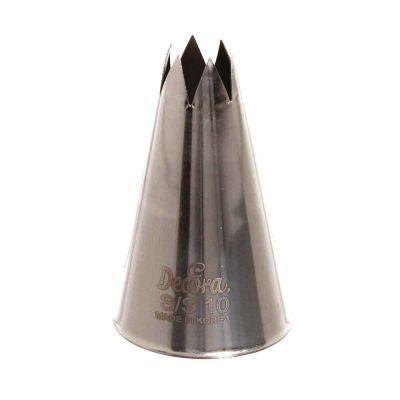 Beccuccio cornetto grande stella 10 Decora in acciaio inox Ø3 x 5 cm