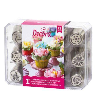 Set 12 Beccucci cornetti per fiori diretti 3D in acciaio inox - Cofanetto 1