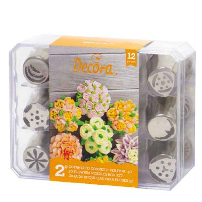 Set 12 Beccucci cornetti per fiori diretti 3D in acciaio inox - Cofanetto 2