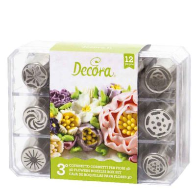 Set 12 Beccucci cornetti per fiori diretti 3D in acciaio inox - Cofanetto 3