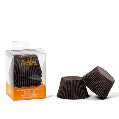 Confezione da 60 pirottini marroni in carta forno Decora
