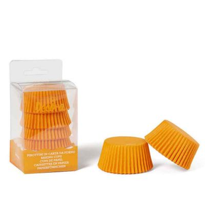 75 Pirottini in carta forno arancio per muffin Ø5 x h3,2 cm Decora