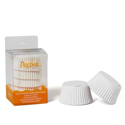 75 Pirottini in carta bianchi per cottura muffin Ø5 x h 3,2 cm Decora