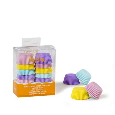 200 Pirottini in carta assortiti colori pastello per mini muffin Ø3,2 x h 2,2 cm Decora