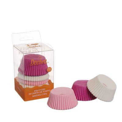 75 Pirottini in carta bianchi rosa fucsia per cottura muffin Ø5 x h 3,2 cm Decora