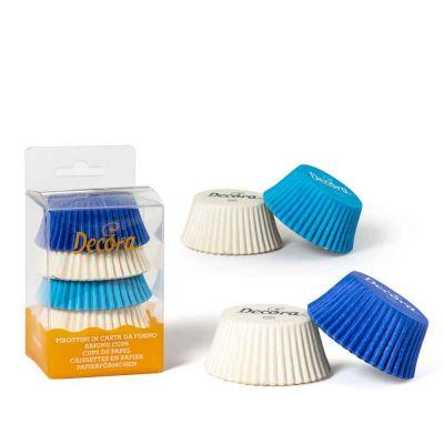 75 Pirottini in carta bianchi celesti blu per cottura muffin Ø5 x h 3,2 cm Decora