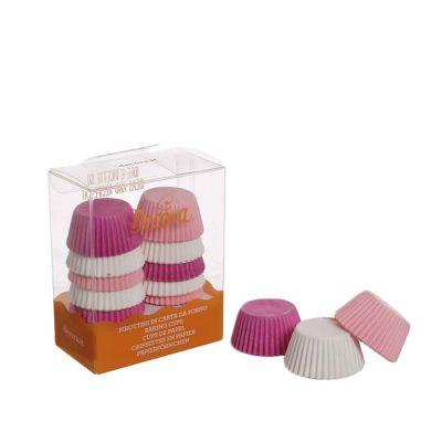 200 Pirottini in carta bianchi rosa e fucsia per mini muffin Ø3,2 x h 2,2 cm Decora