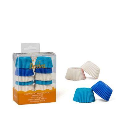 200 Pirottini in carta bianchi celesti e blu per mini muffin Ø3,2 x h 2,2 cm Decora