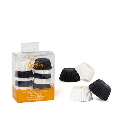 200 Pirottini in carta bianchi e neri per mini muffin Ø3,2 x h 2,2 cm Decora