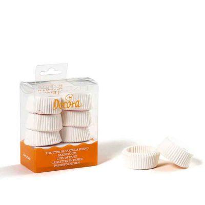120 Pirottini in carta bianchi per tartellette Ø4 x h 2 cm Decora