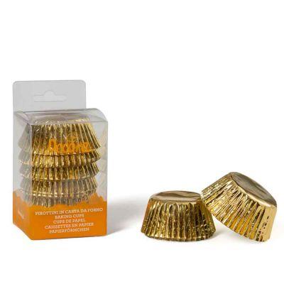 60 Pirottini in carta oro per cottura muffin Ø5 x h 3,2 cm Decora